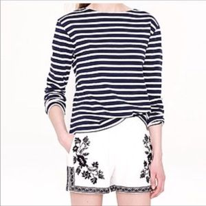 J. Crew White Cotton Embroidered Shorts Size 0